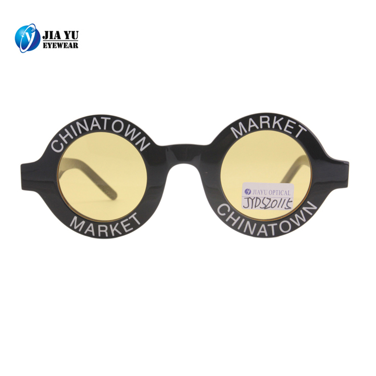 Wholesale Fashion Brand Polarized Custom Vintage Small Round Women Acetate Sunglasses